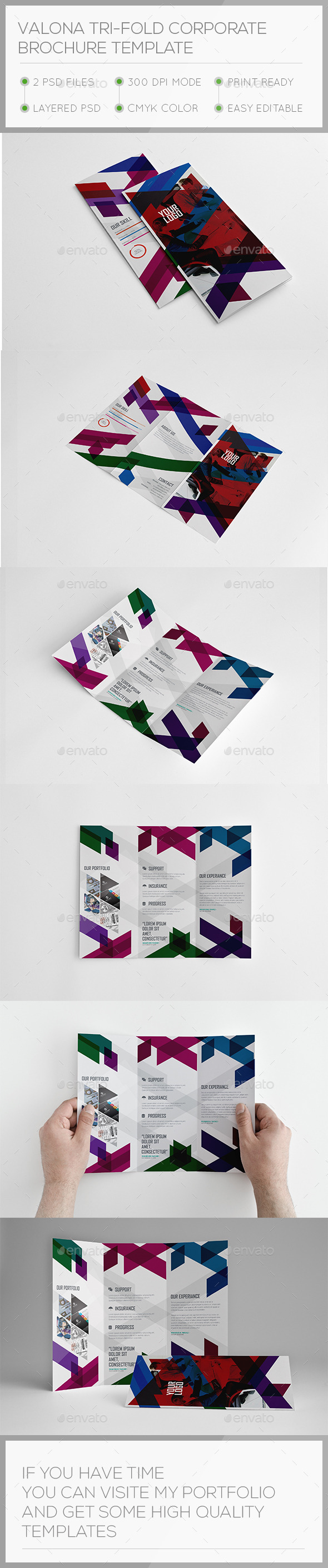 Valona Corporate Trifold Brochure Template - Brochures Print Templates