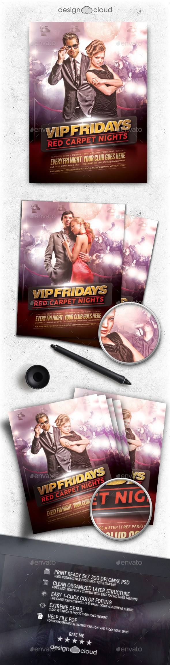 VIP Fridays Red Carpet Nights Flyer Template - Clubs & Parties Events
