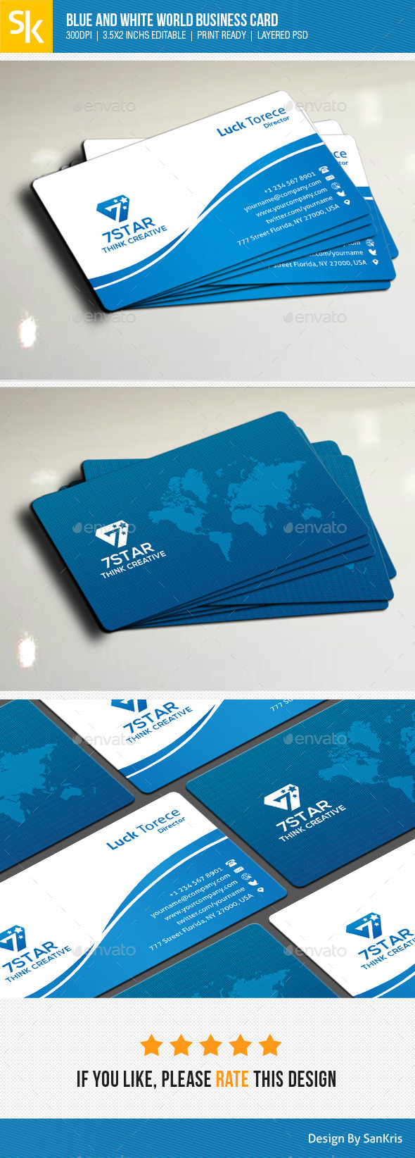 Blue And White World Business Card - Creative Business Cards