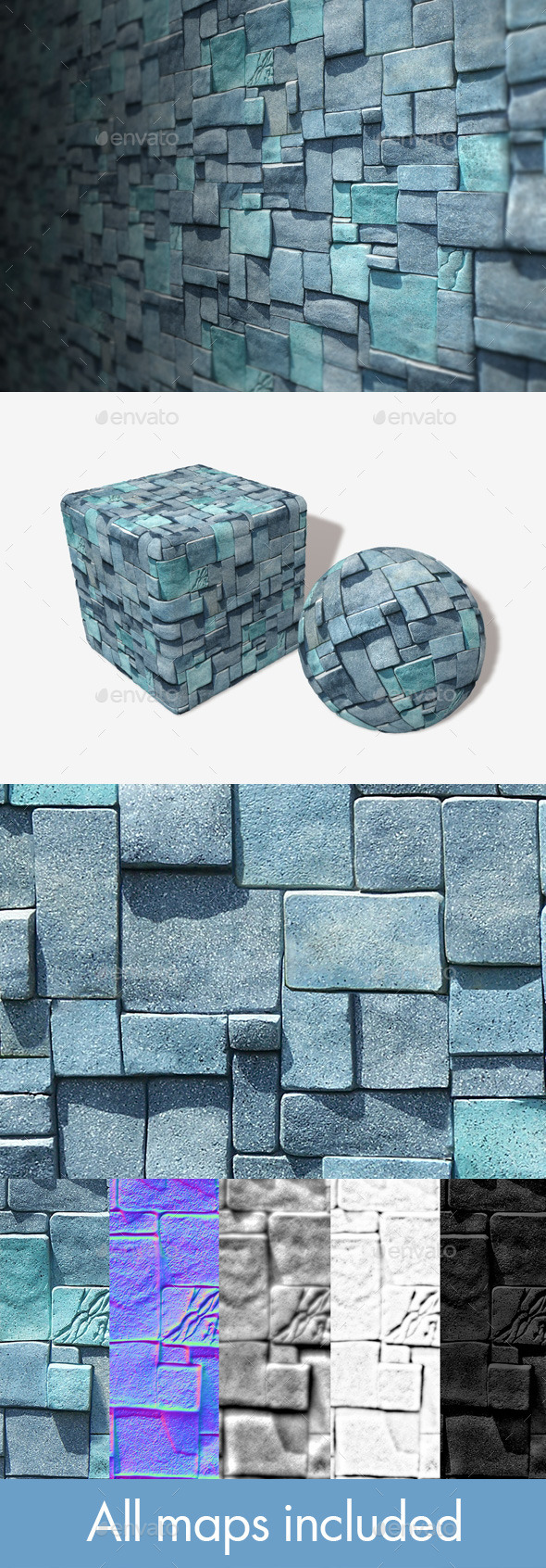 Blue Cube Bricks Seamless Texture - 3DOcean Item for Sale