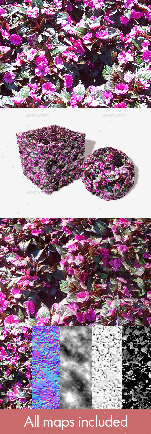 Pink Plant Seamless Texture - 3DOcean Item for Sale