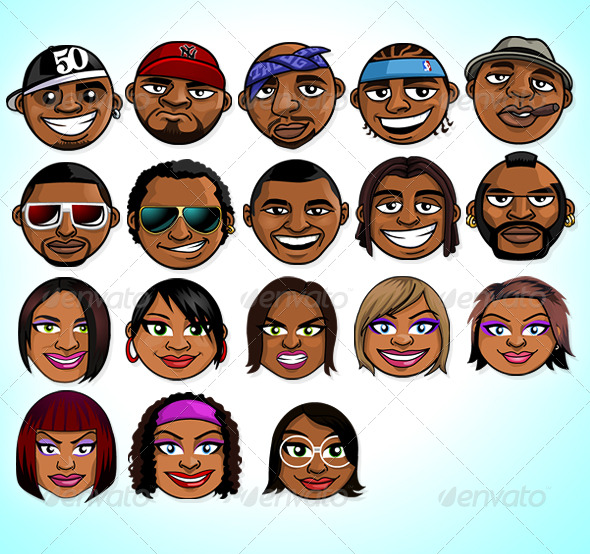 18 Cool Avatars of Black People - People Illustrations
