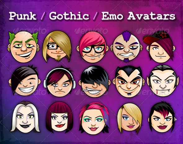 15 Cool Punk/ Gothic/ Emo Avatars - People Illustrations