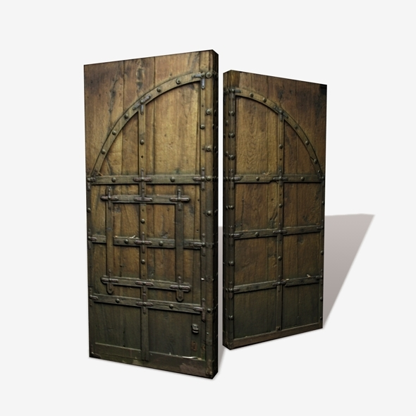 Wooden Castle Door Low Poly - 3DOcean Item for Sale
