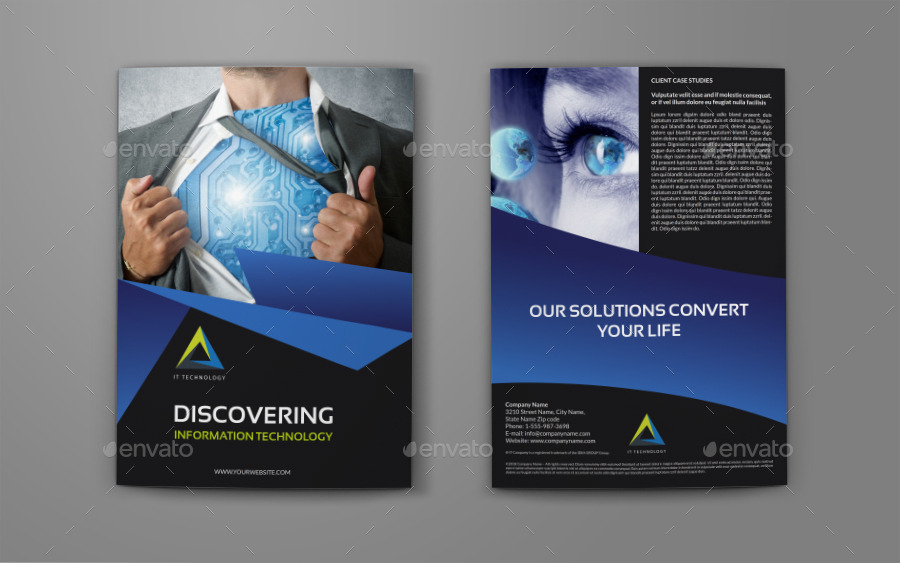 It Company Brochure Bi Fold Template By Owpictures Graphicriver