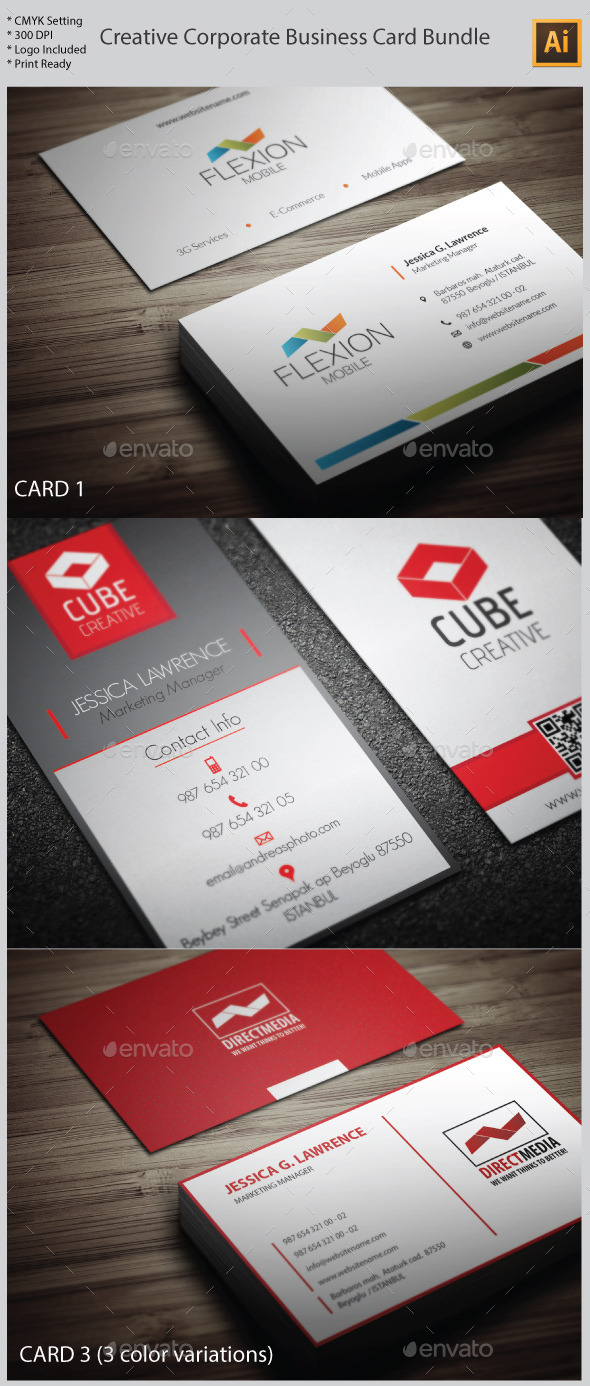 3 in 1 creative corporate business card bundle by yfguney graphicriver 3 in 1 creative corporate business card bundle creative business cards reheart Images