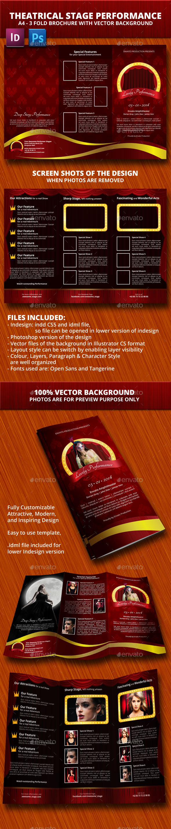 Theaterical Stage Performance Trifold Brochure - Informational Brochures