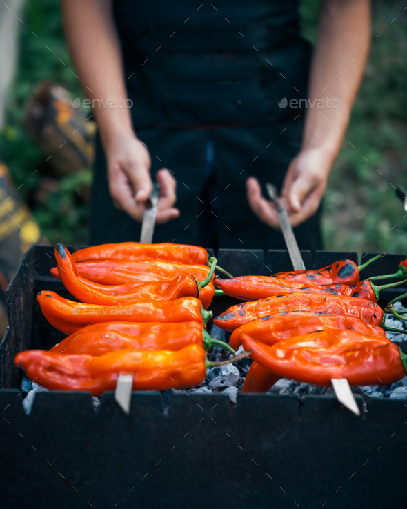 Grilled red peppers - Stock Photo - Images