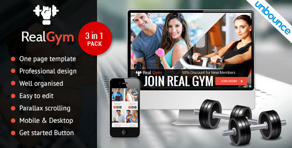 RealGym – Unbounce Health Fitness Landing Page