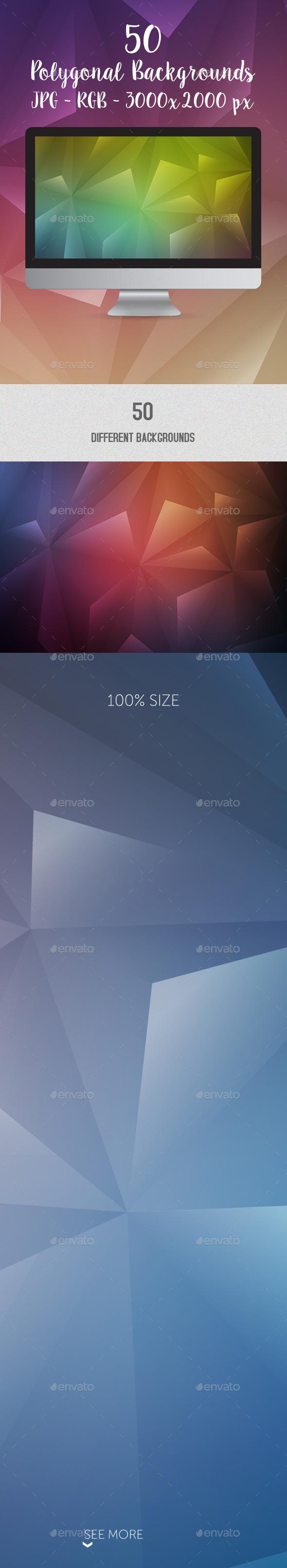 50 Polygonal Geometric HQ Backgrounds