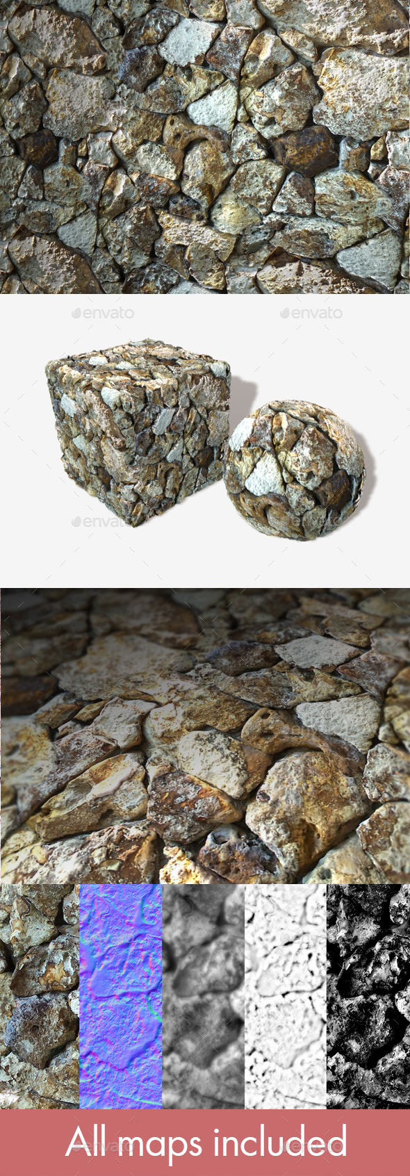 Rough Ocean Rocks Seamless Texture - 3DOcean Item for Sale