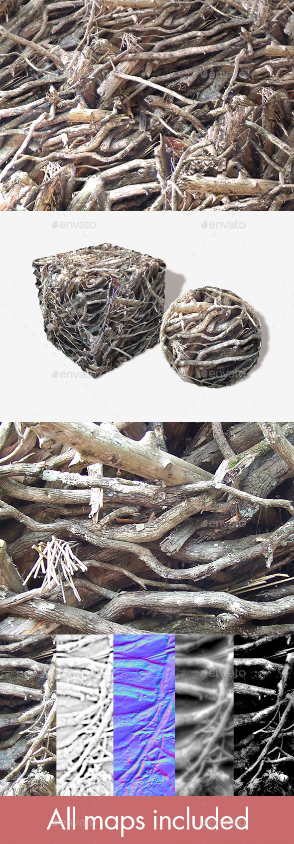 Twigs and Branches Seamless Texture - 3DOcean Item for Sale