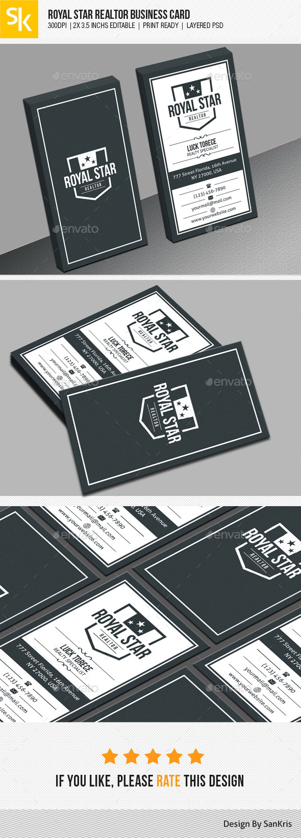 Royal Star Realtor Business Card - Corporate Business Cards