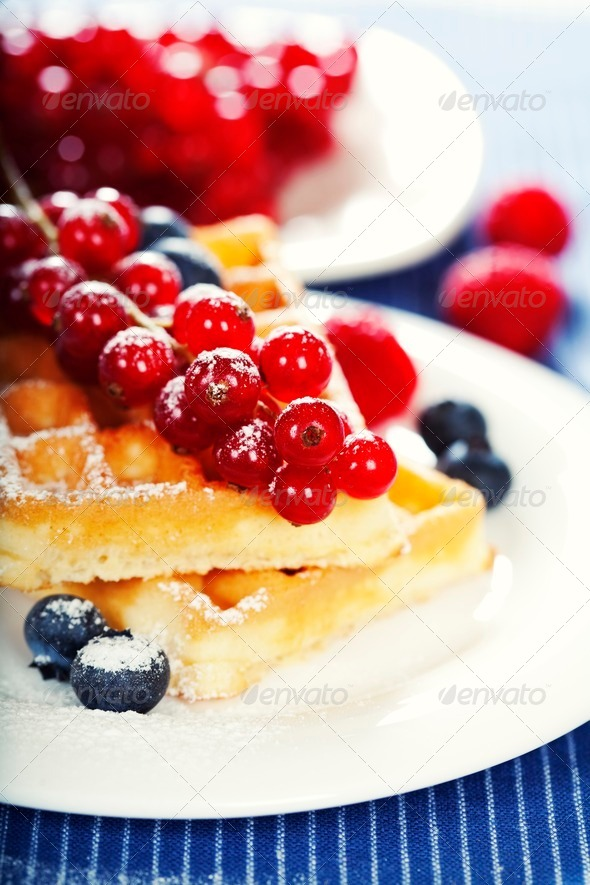 waffles with fresh berries - Stock Photo - Images