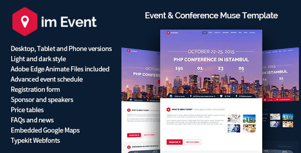 ImEvent – Event Conference Landing Muse Template