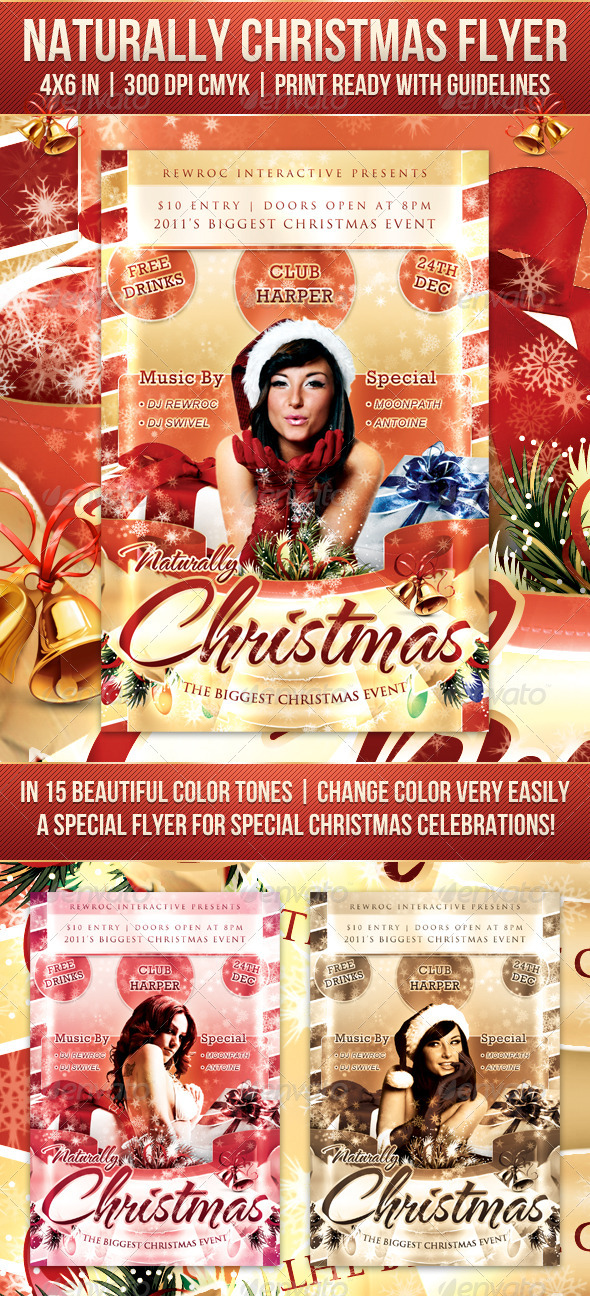 Naturally Christmas Flyer - Clubs & Parties Events