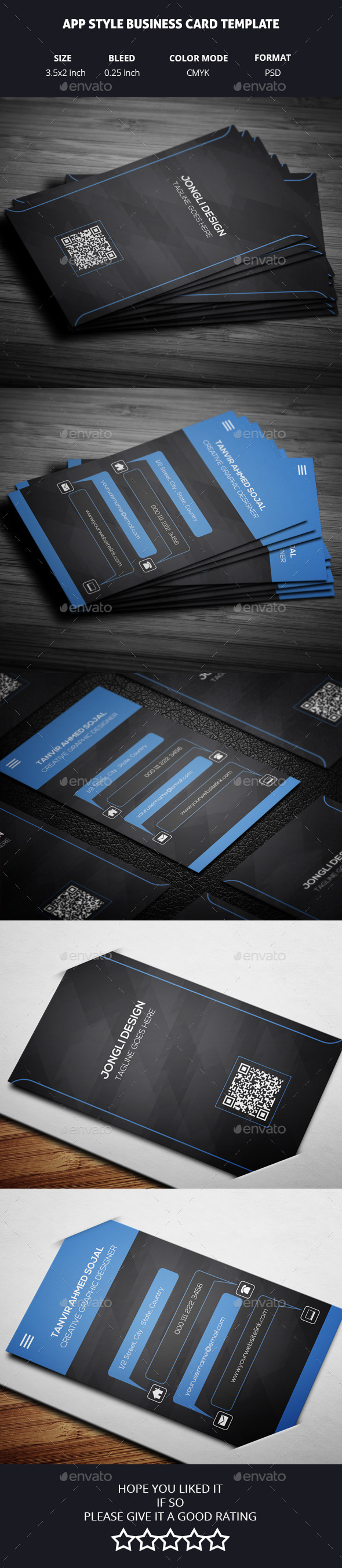 App style business card template by jongli graphicriver app style business card template creative business cards reheart Gallery