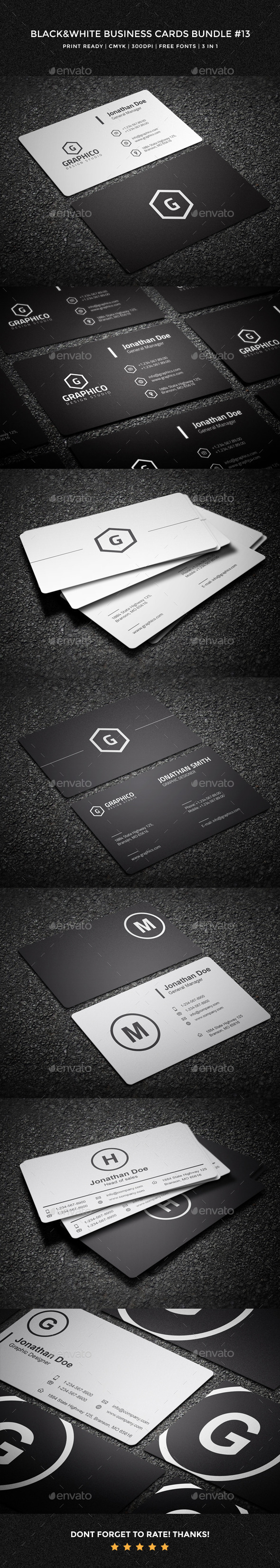 Black & White Business Cards Bundle - 13 - Corporate Business Cards