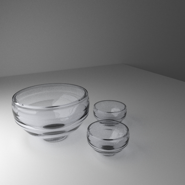 Realistic Mini Set Glass Bowl - 3DOcean Item for Sale