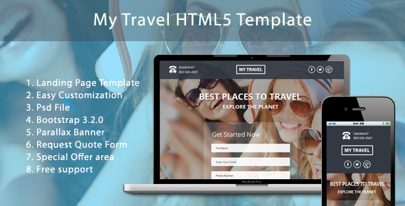 My Travel HTML5 Landing Page  by paulthekkinen