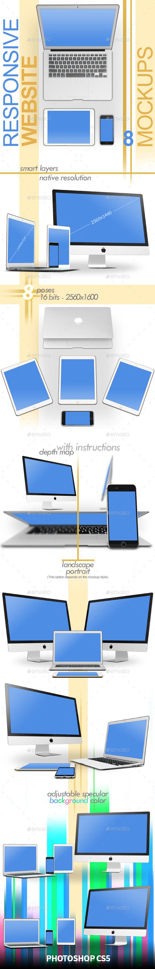 Responsive Website 8 Mock-ups - Multiple Displays