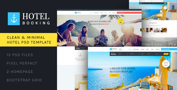 Hotel Booking - PSD Template - Travel Retail