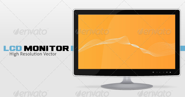 High Resolution LCD Monitor Vector - Computers Technology
