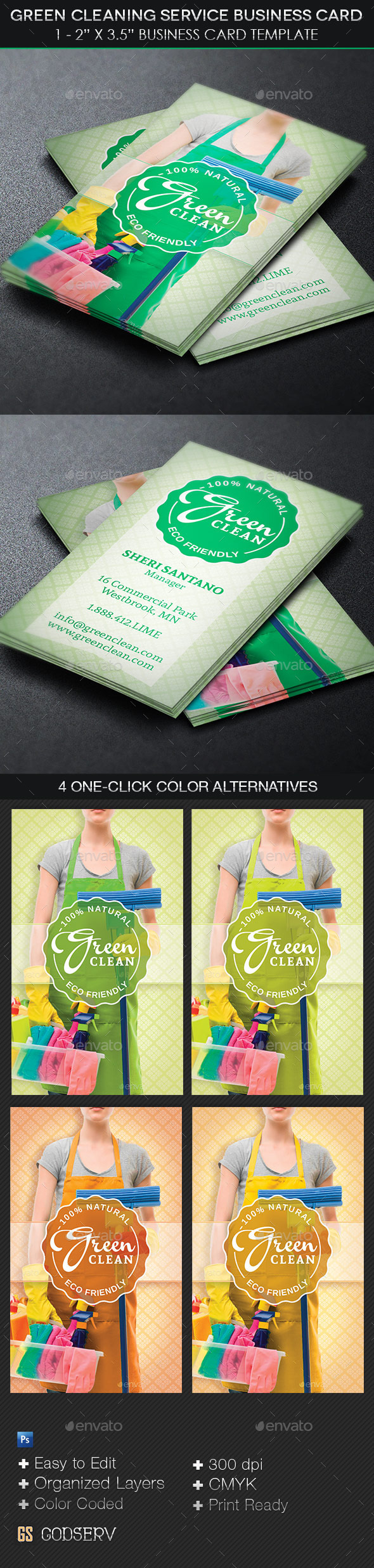 Green Cleaning Service Business Card Template by Godserv | GraphicRiver