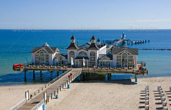 Pier of Sellin at the Baltic Sea - Stock Photo - Images