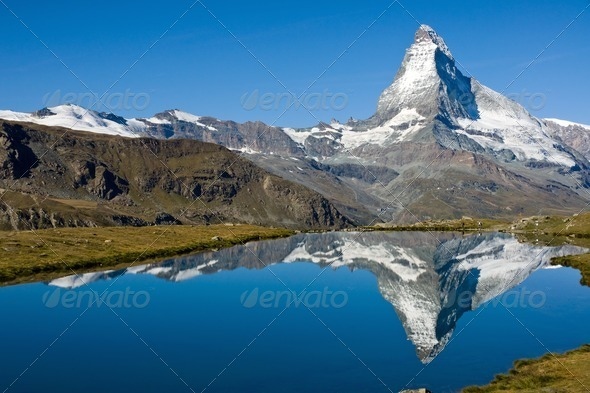The Matterhorn with Stelisee - Stock Photo - Images