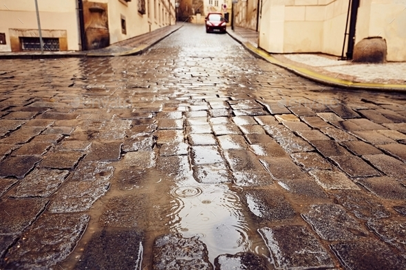 Rain in the city - Stock Photo - Images
