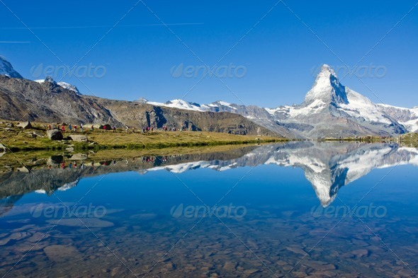 Mass tourism at the Matterhorn - Stock Photo - Images