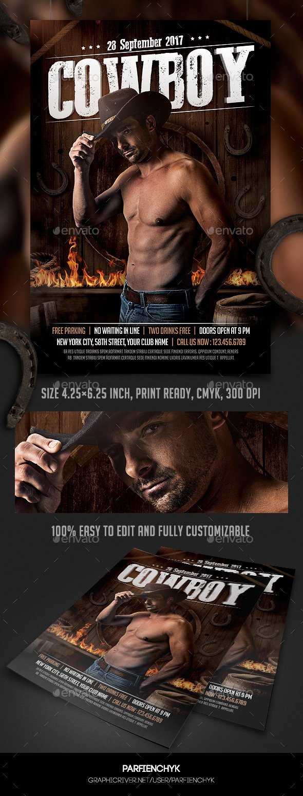 Cowboy Party Flyer Template - Clubs & Parties Events