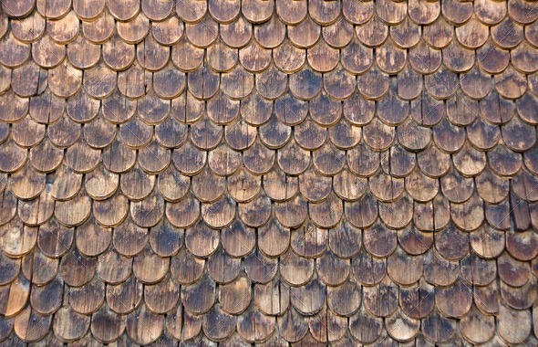 Wall of wooden shingles - Stock Photo - Images