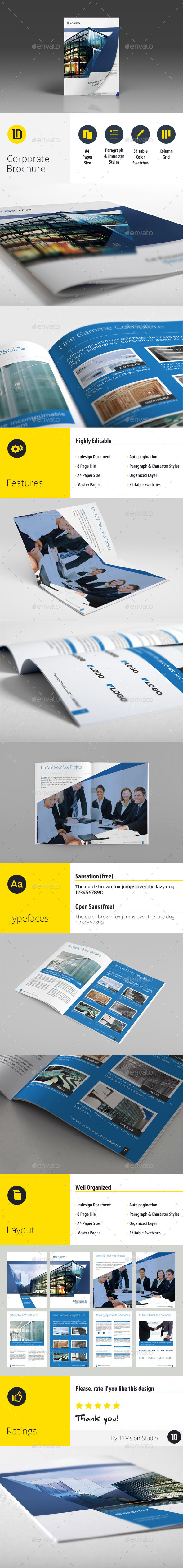 Corporate Business A4 Brochure 8 Pages InDesign - Corporate Brochures