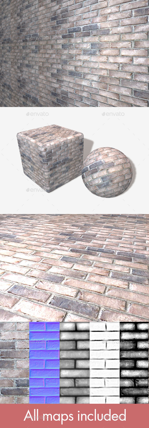 Whitewash Bricks Seamless Texture - 3DOcean Item for Sale