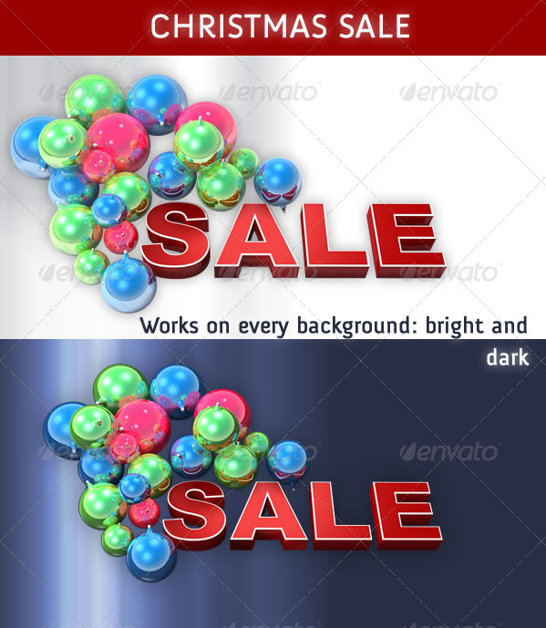 Christmas Sale with Glass Bulbs - Miscellaneous 3D Renders