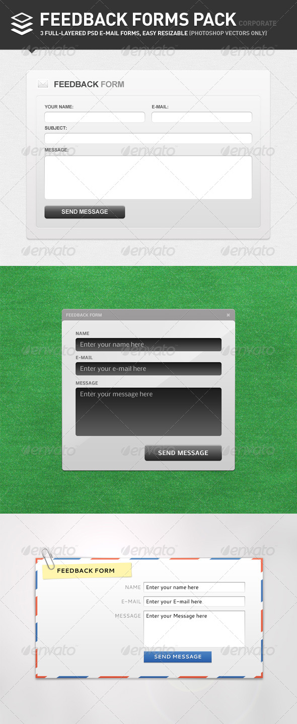 Feedback Forms Pack, Corporate - Forms Web Elements