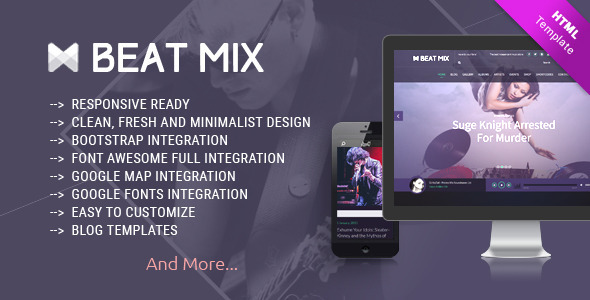 Beat Mix Responsive Music and Band Template  - Entertainment Site Templates