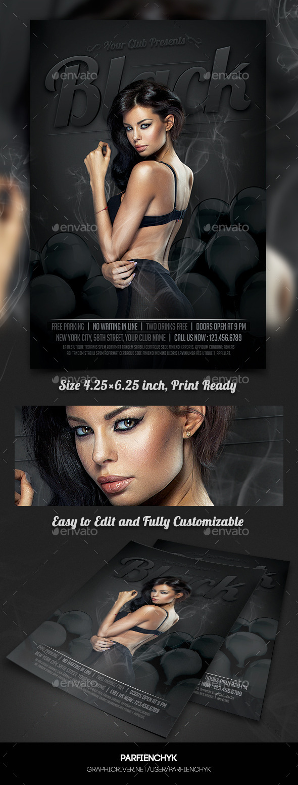 Black Night Party Flyer Template - Clubs & Parties Events