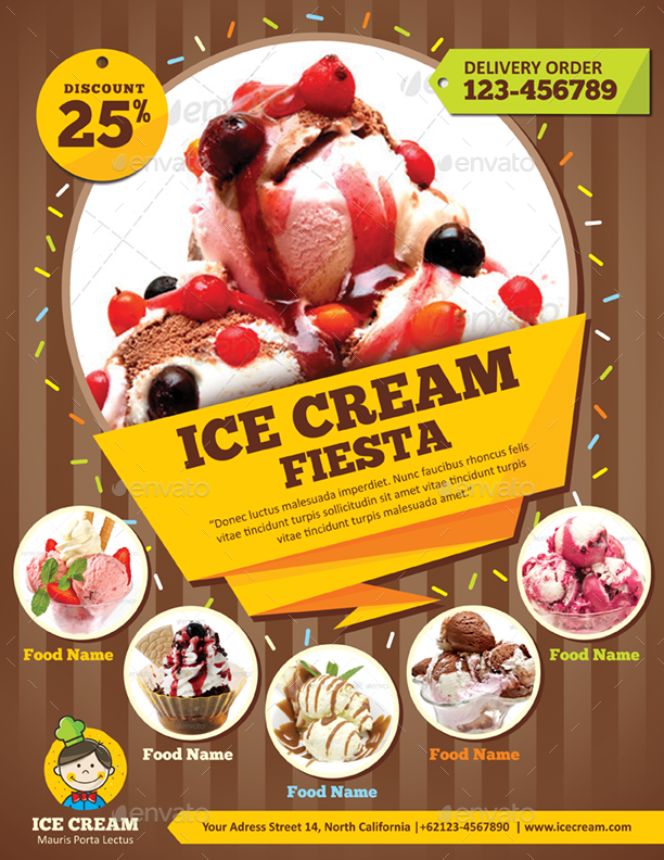ice cream flyer template by monggokerso graphicriver. Black Bedroom Furniture Sets. Home Design Ideas