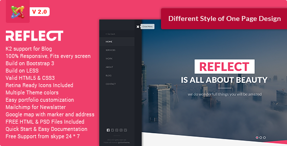 Reflect – Creative One Page Joomla Template