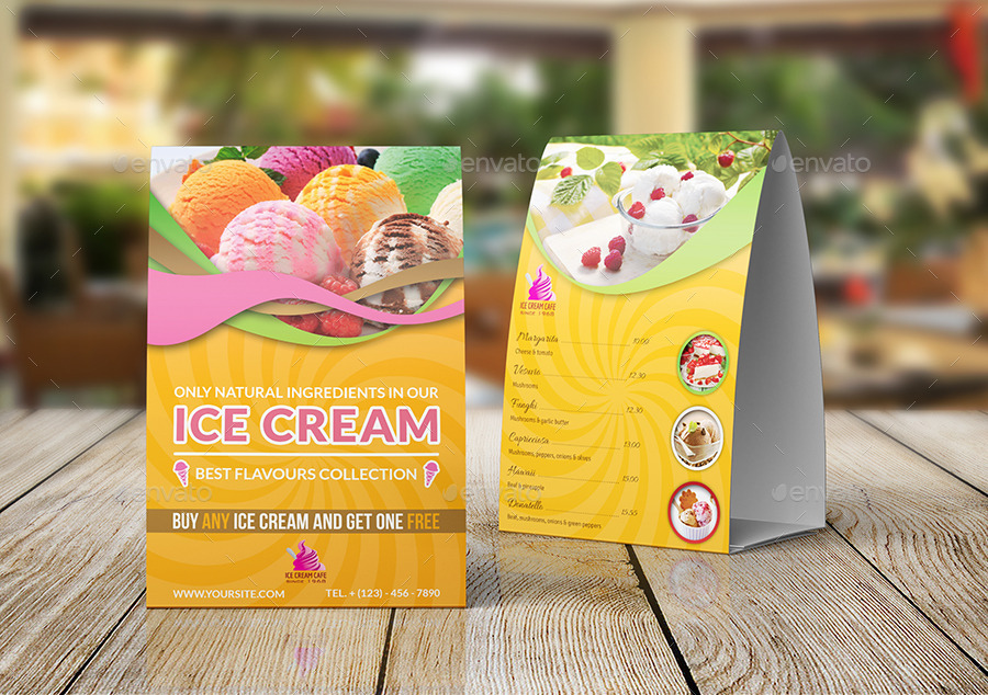 Ice Cream Table Tent Template By Owpictures | Graphicriver