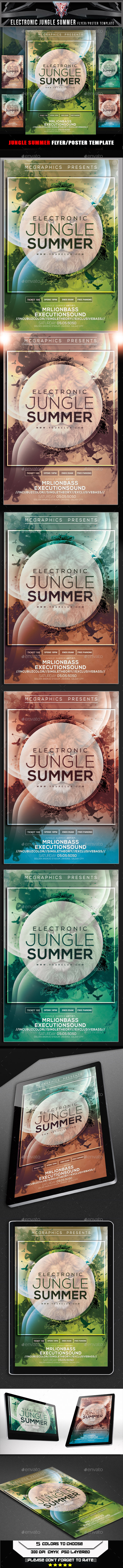 Electronic Jungle Summer Flyer Template