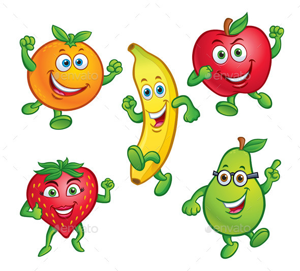 five cartoon fruit characters by rodsavely graphicriver rh graphicriver net cartoon pictures fruit trees cute cartoon fruit pictures