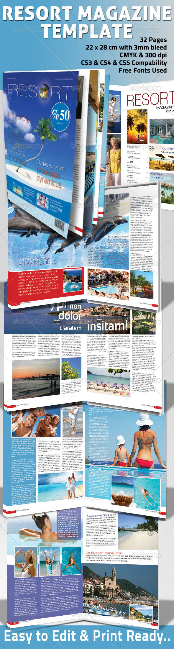 Resort Magazine Template - Magazines Print Templates