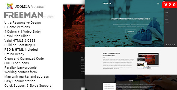 Freeman – Multipurpose One Page Joomla Theme