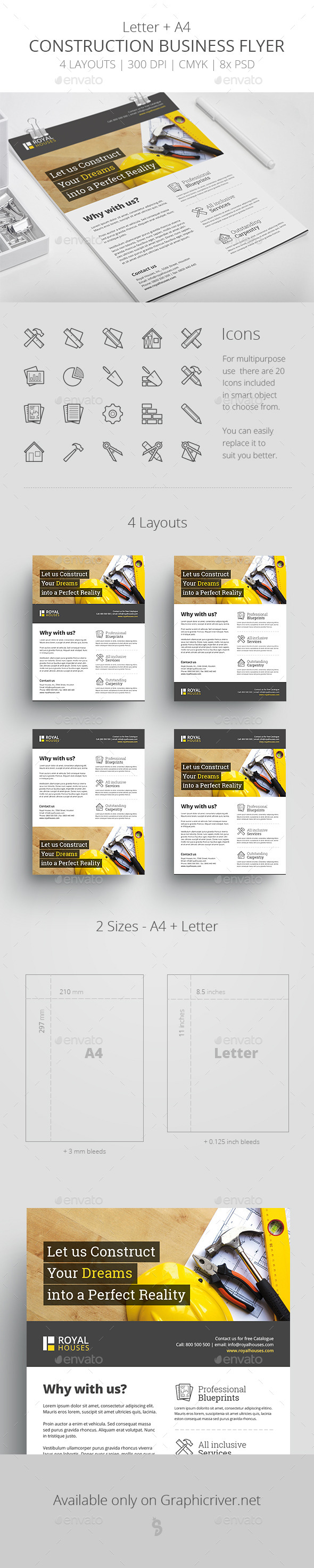 Construction Business Flyer - Letter + A4 - Corporate Flyers