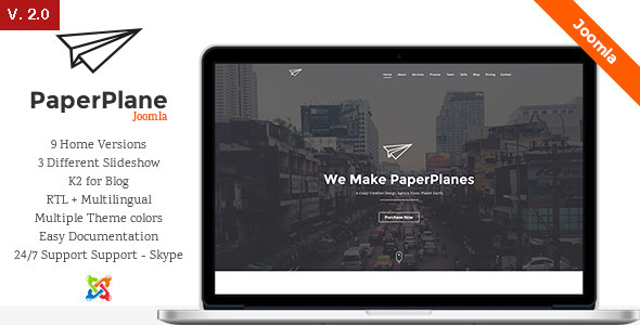 PaperPlane – Creative One Page Joomla Template