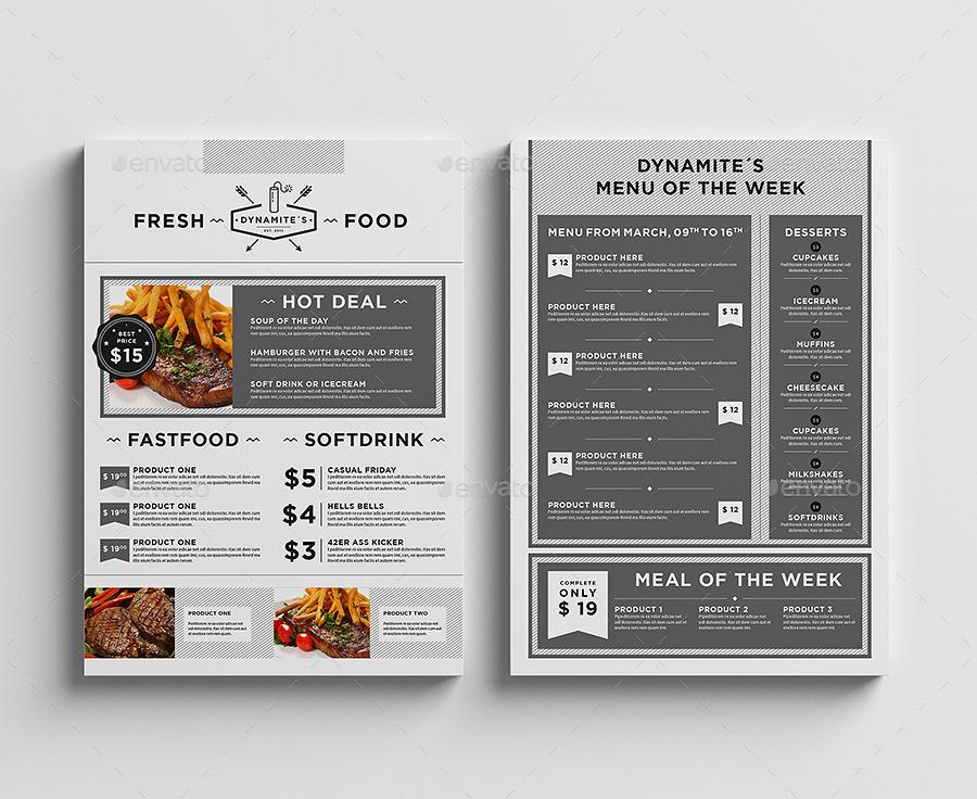 restaurant menu flyer by egotype graphicriver